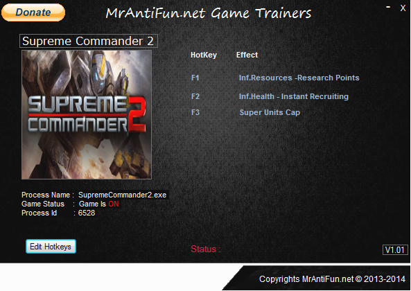 Supreme Commander 2 V1.260 Trainer +5 MrAntiFun