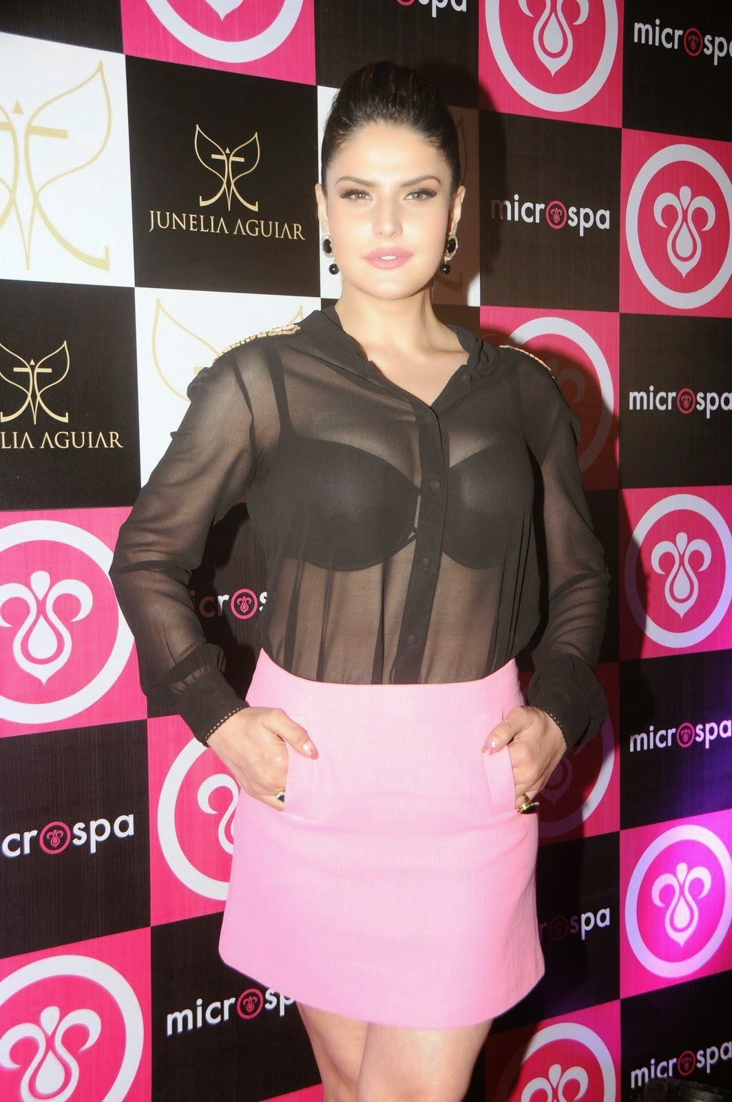 Zarine Khan bra visible Transparent Black Top