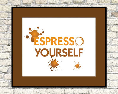 poster with coffee rings text espresso yourself