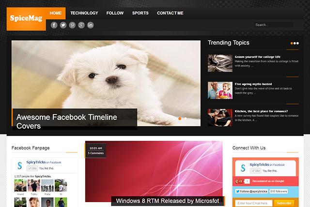 Spice Mag premium news magazine blogger template free 25+ Best Free Magazine Blogger Templates for 2013 Download