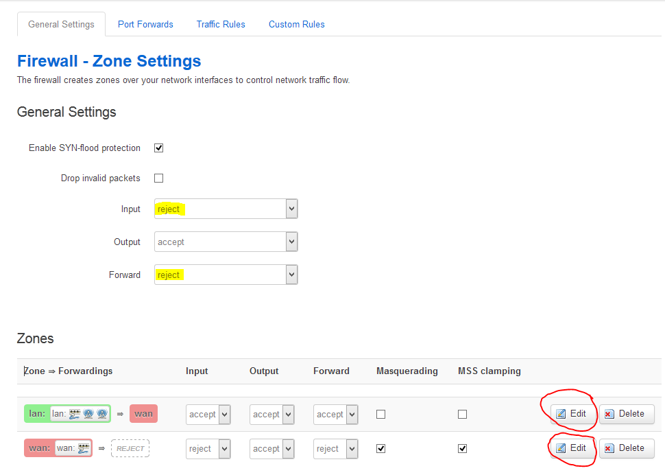 Firewall Zone Default Settings