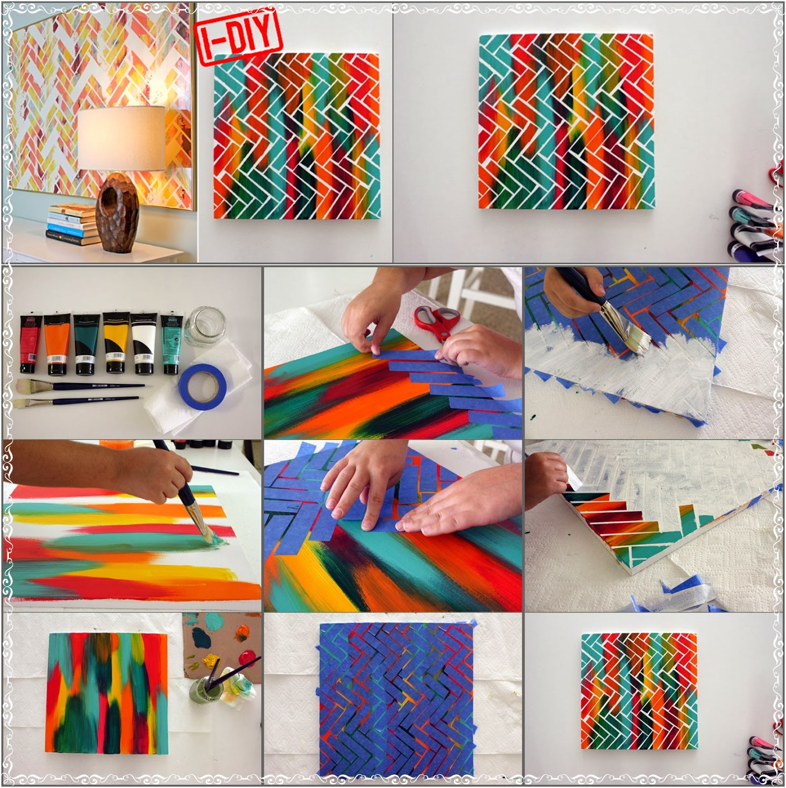 Diy herringbone painting art diy craft projects - Como pintar cuadros faciles ...