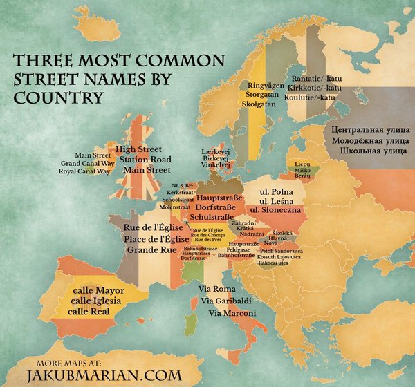 The most common names in streets