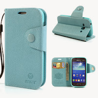 Leather Case Wallet with Stand and Card Slot Samsung Galaxy Ace 3 S7275 S7270 S7272 - Baby Blue