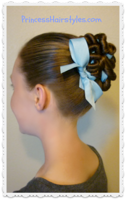 Cute ribbon coiled bun with bow tutorial