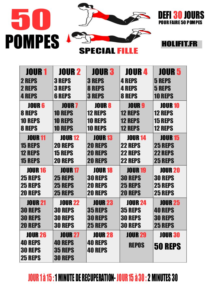Défi 30 jours : 50 pompes spécial fille - HOLIFIT