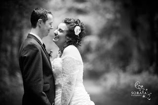 Bride and groom sharing an intimate moment together