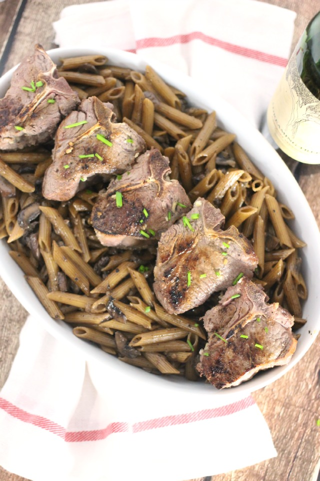 One Skillet Seared Lamb & Creamy Red Wine Penne