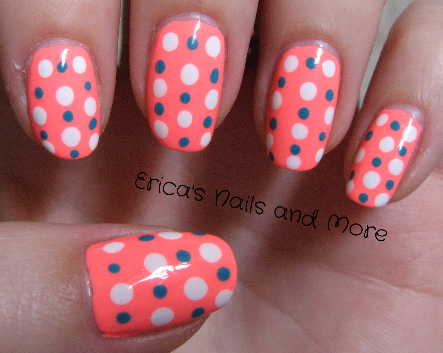 Ericas nails and more november nail art challenge day 2 for this design i used my new china glaze flip flop fantasy as my base colour 3 coats and placed large dots of sally hansen xtreme wear white on and then prinsesfo Choice Image