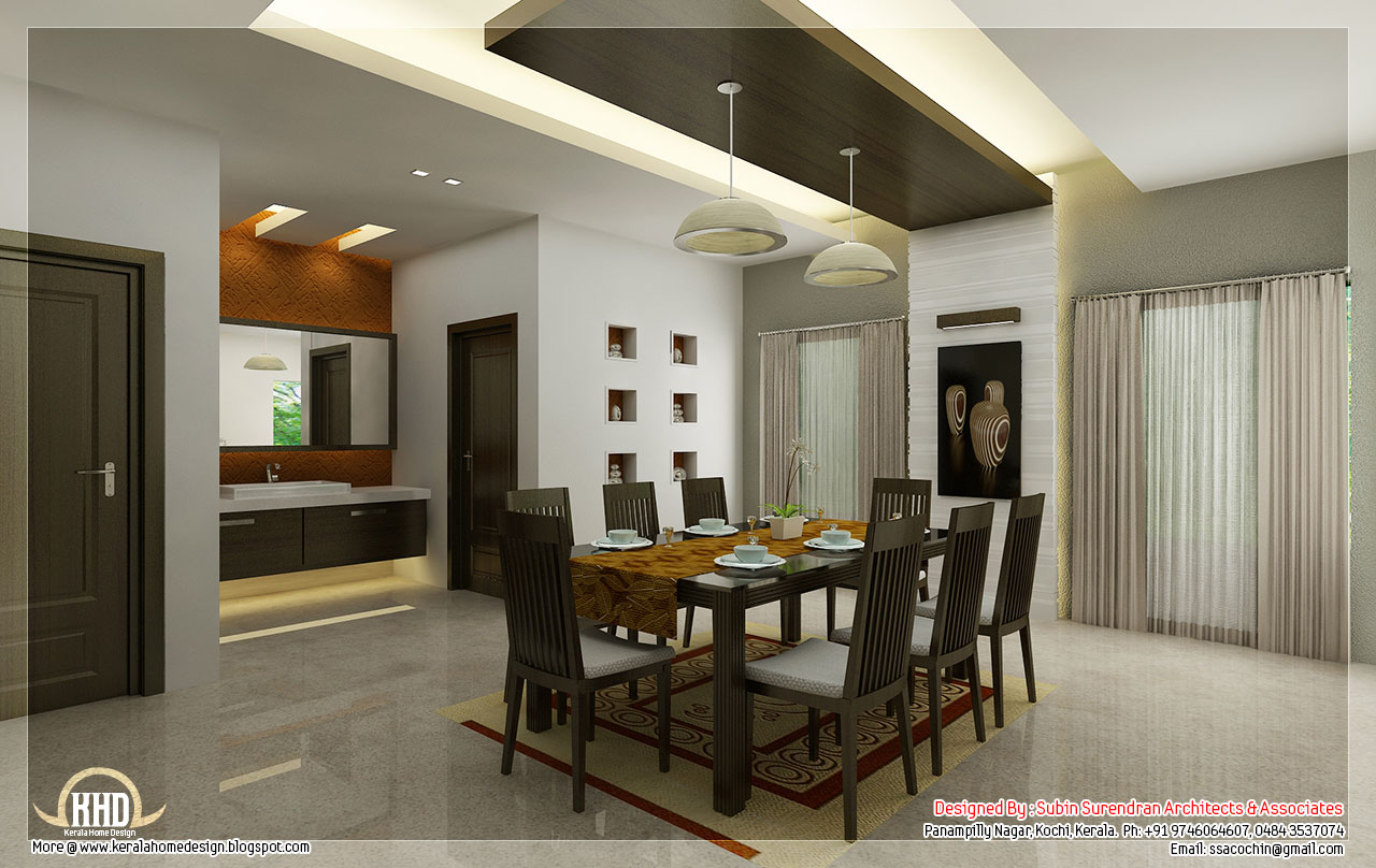 Kitchen and dining interiors kerala home design and for Home dining hall design