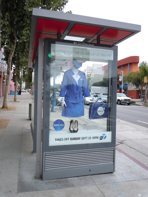 Pan Am costume bus shelter installation