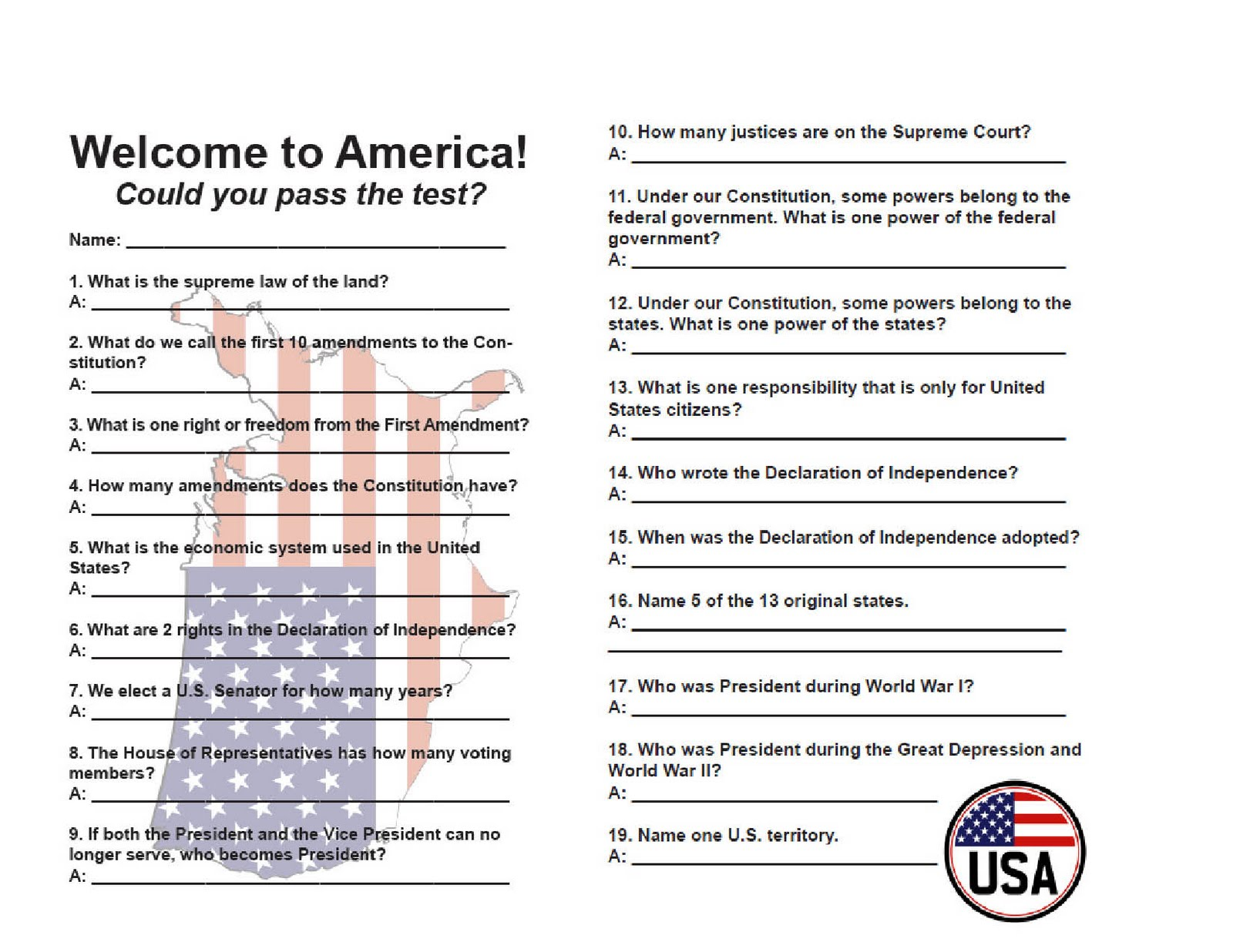 Critical image for printable citizenship test