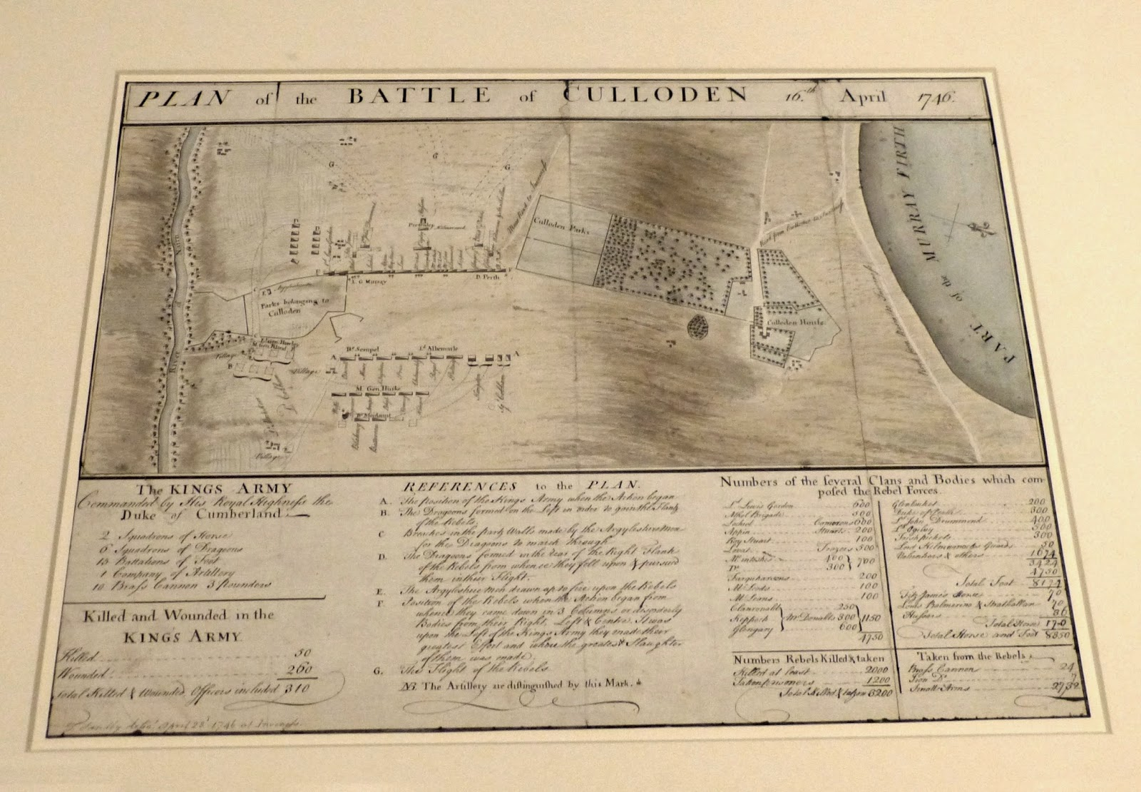 Plan of the Battle of Culloden  from the First Georgians exhibition at the Queen's Gallery, London