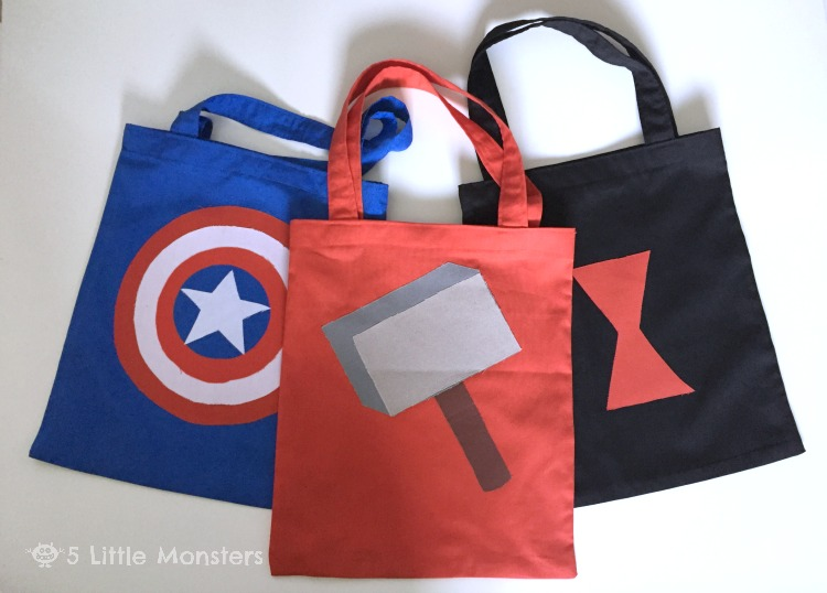 Tutorial for Avengers Halloween Trick or Treat Bags: Thor, Captain America, Black Widow