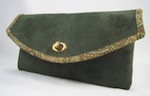 Clutch Purse Suede Flowers Leaves Green Brown