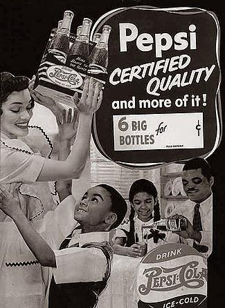 Propaganda do refrigerante Pepsi para negros na década de 40.