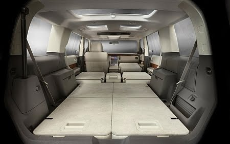 View from tailgate through interior with seats folded of 2011 Ford Flex