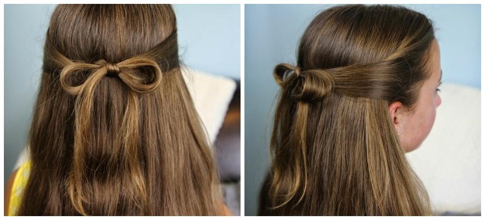 Peinados niña faciles - semirecogido lazo