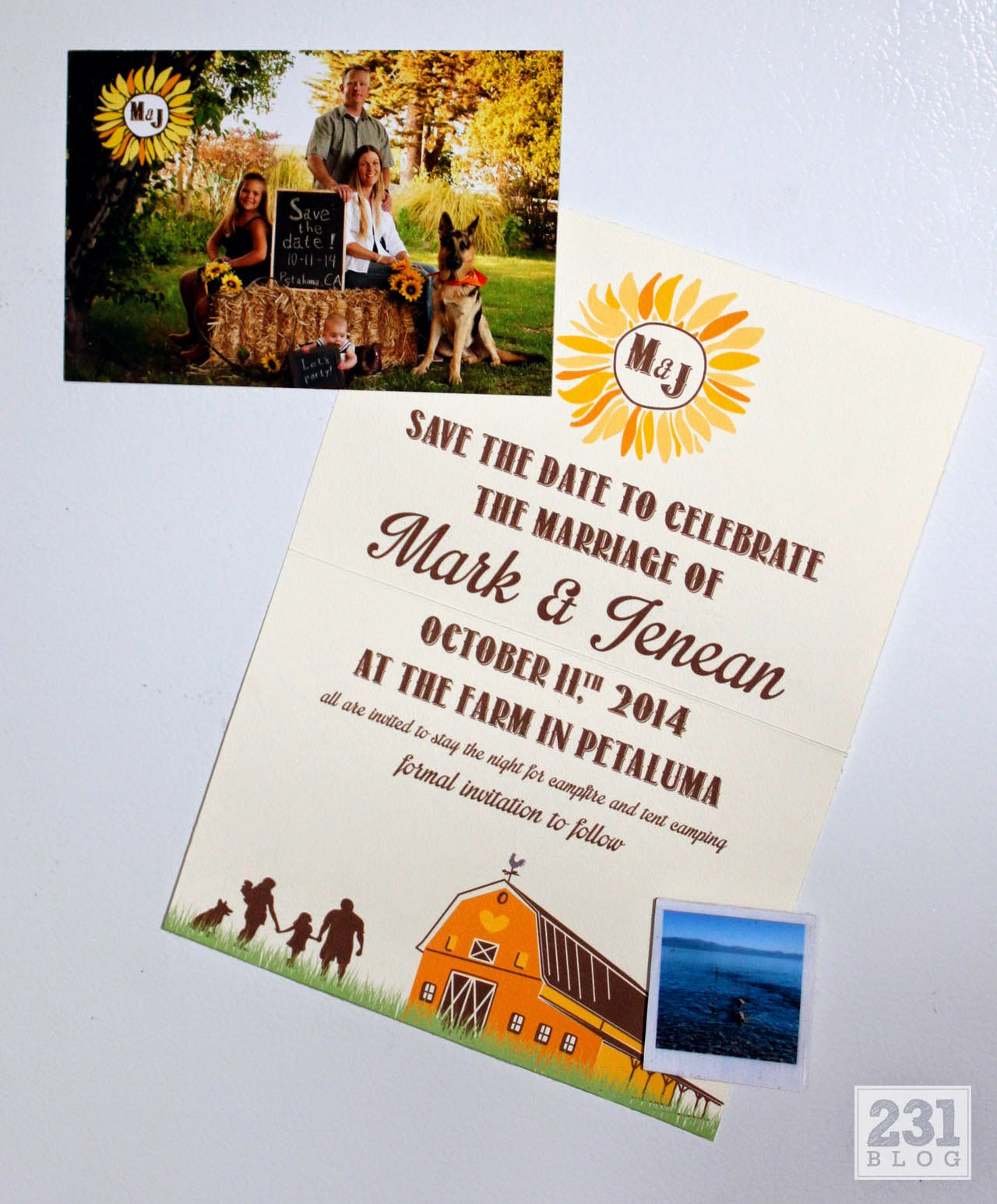country rustic wedding save the date magnet