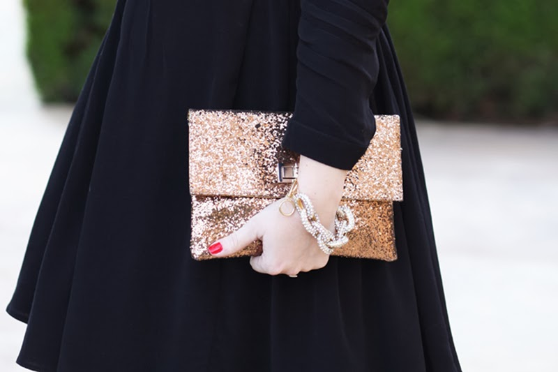 gold-glitter-turn-lock-clutch-pave-link-bracelet-asos-black-dress-valentines-day-2014-outfit-ideas-king-and-kind