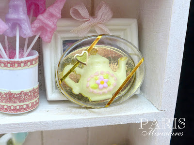 Miniature white chocolate teapot in clear presentation box