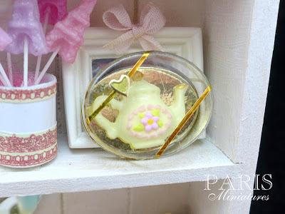 Miniature white chocolate teapot in clear presentation box