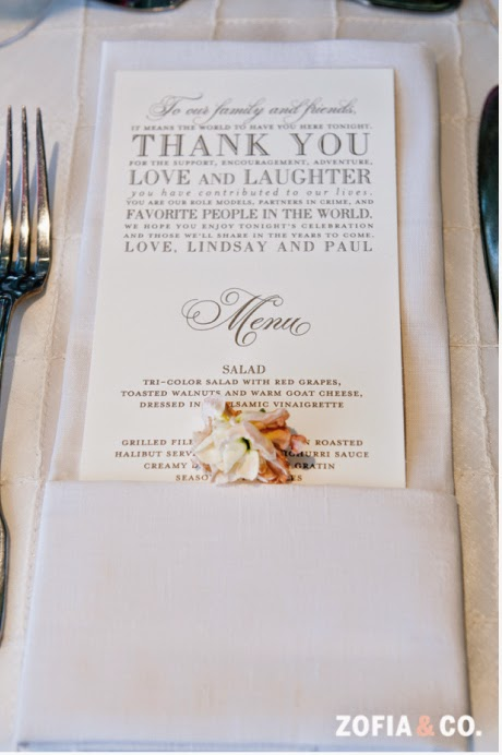 Nico And LaLa Wedding Reception Menu Cards