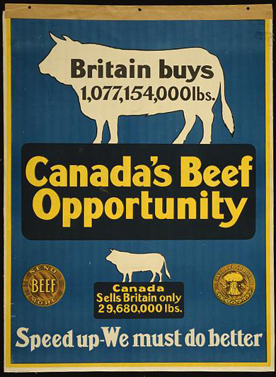 advertising, free download, graphic design, retro prints, vintage, vintage posters, wildlife, Canada's Beef Opportunity, Speed up, We Must Do Better - Vintage Advertising Poster