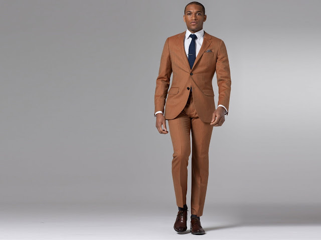 Indochino Ultimate Rustic Orange Herringbone Suit