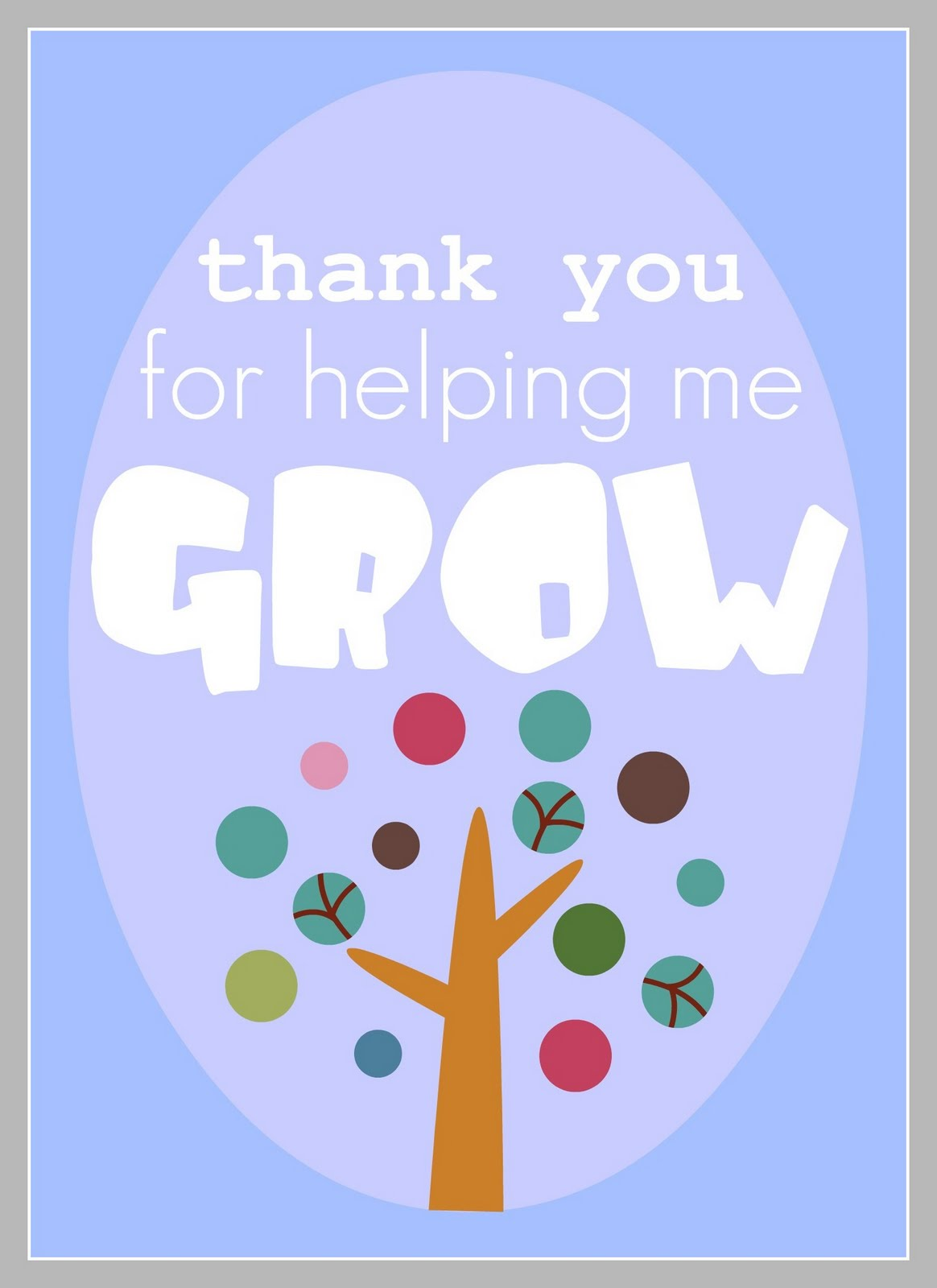 It's just a graphic of Fabulous Thank You for Helping Us Grow Printable