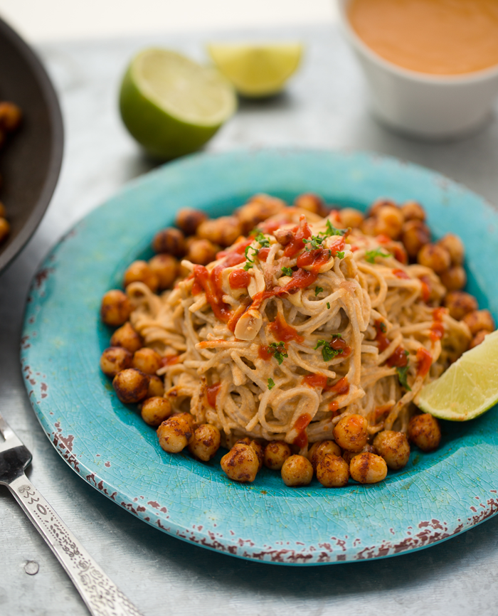 Speedy Sriracha-Peanut Soba Noodles with Smoky Maple Chickpeas