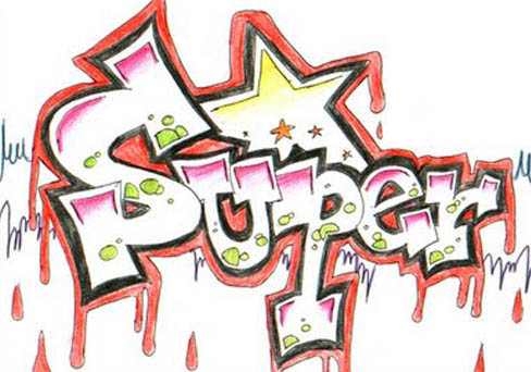 Super Star Graffiti On Paper Blood Splash Effects Graffiti Stars Drawings