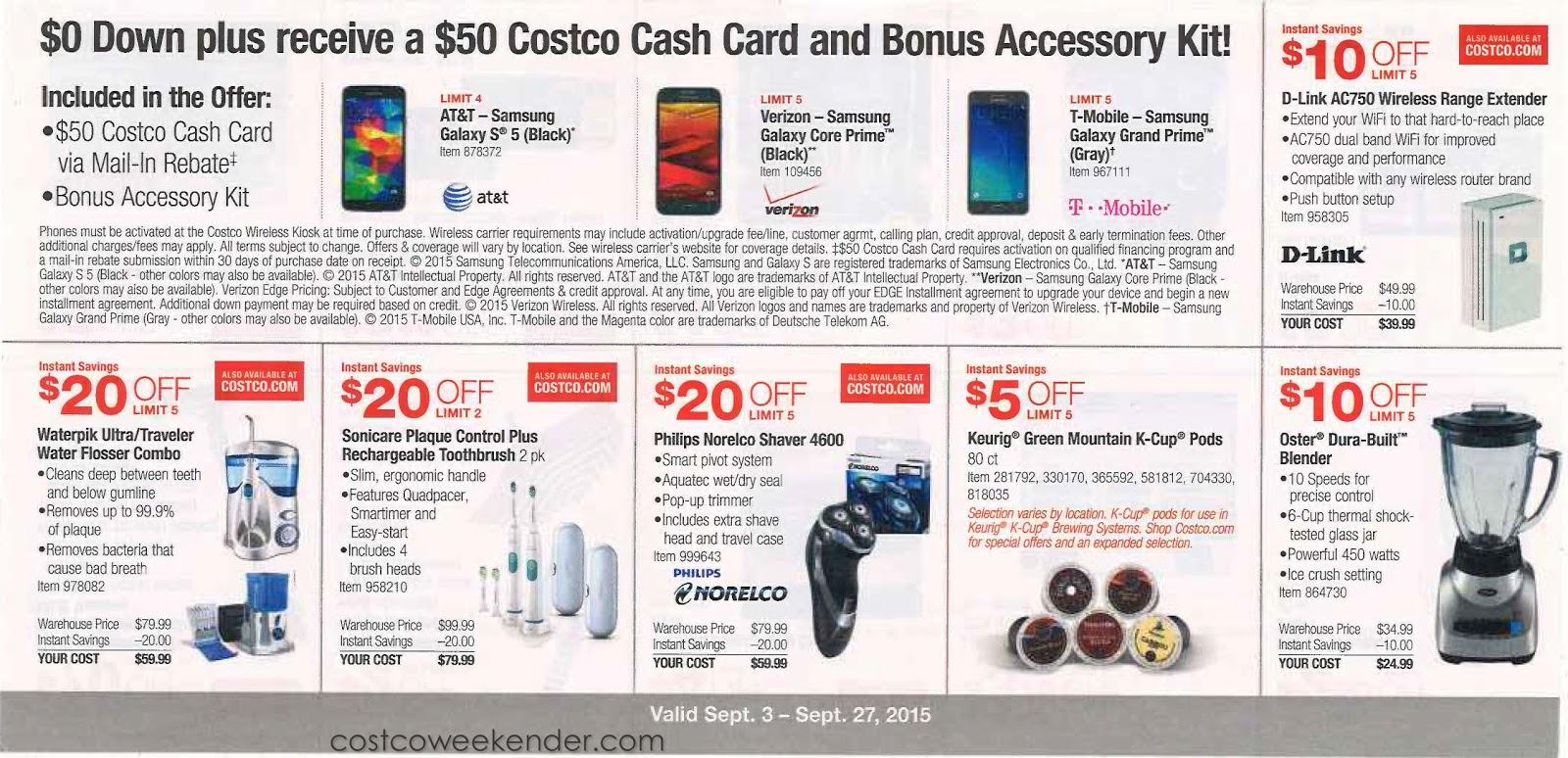 Costco membership deals sept 2018