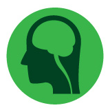 Cognitive Related Accessibility: Symbol depicts the side view of a head with the brain inside on a green background.