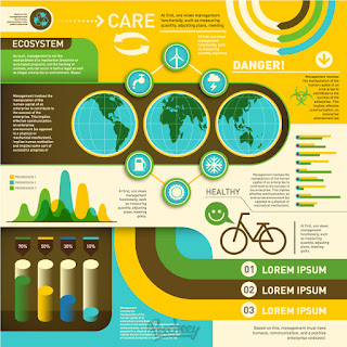 エコロジー関連のインフォグラフィックス Ecology retro infographic イラスト素材