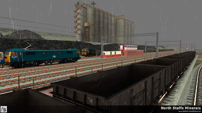 Fastline Simulation - North Staffs Minerals: A view from Grange Sidings across the mainline to Wolstanton Exchange Sidings as Class 86 86260 passes with a down express to Manchester Picadilly in North Staffs Minerals a route for RailWorks Train Simulator 2012.