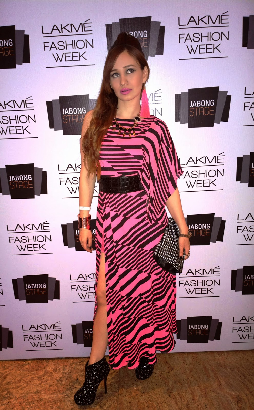 Black & Pink Maxi Dress at Lakme Fashion Week