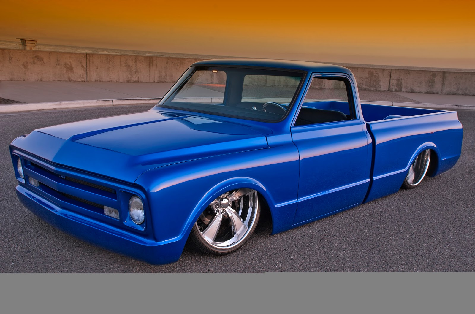1968 chevy truck custom flat blue