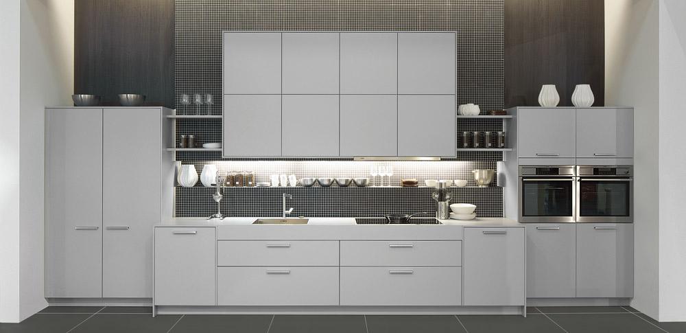 Bueno  Fregaderos Para Cocina Economicos #7: Cocina-blanca-con-pared-gris2.jpg