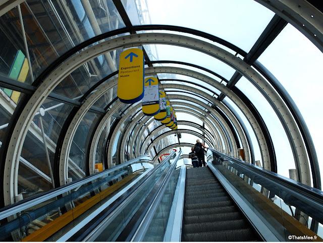 Tunnel Escalator arches Beaubourg center George Pompidou Paris