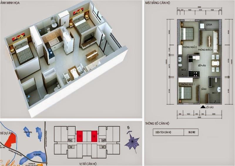 Căn số 17 - 14  DT 59,2m2. Golden Central Tower - Vinaconex 2 kim văn kim lũ