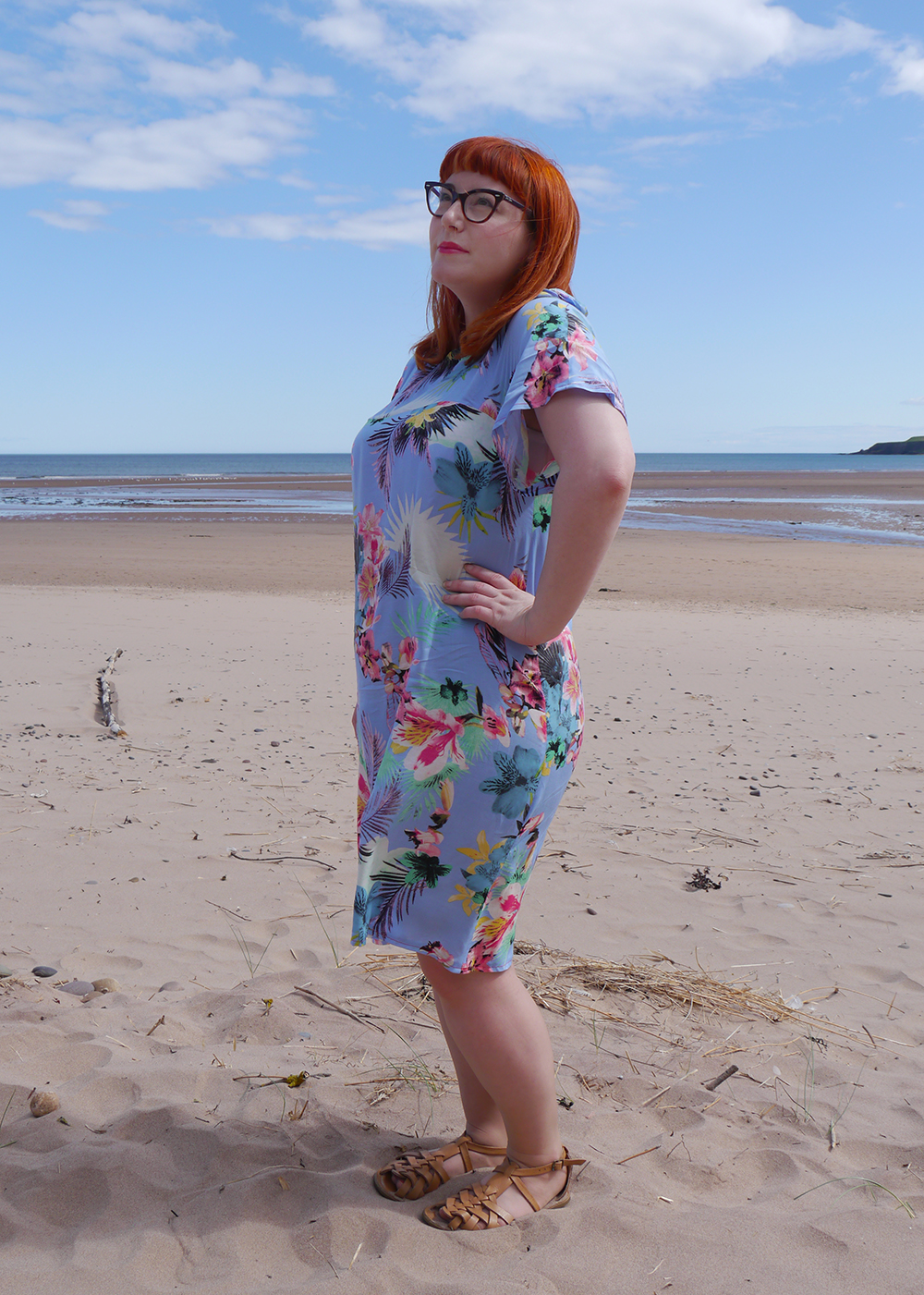 summer style, tropical style, beach style, DIY dress, dressmaking, Styled by Helen: Tropical, red head, ginger, Topshop sandals, pink blazer, Tom Pigeon earrings