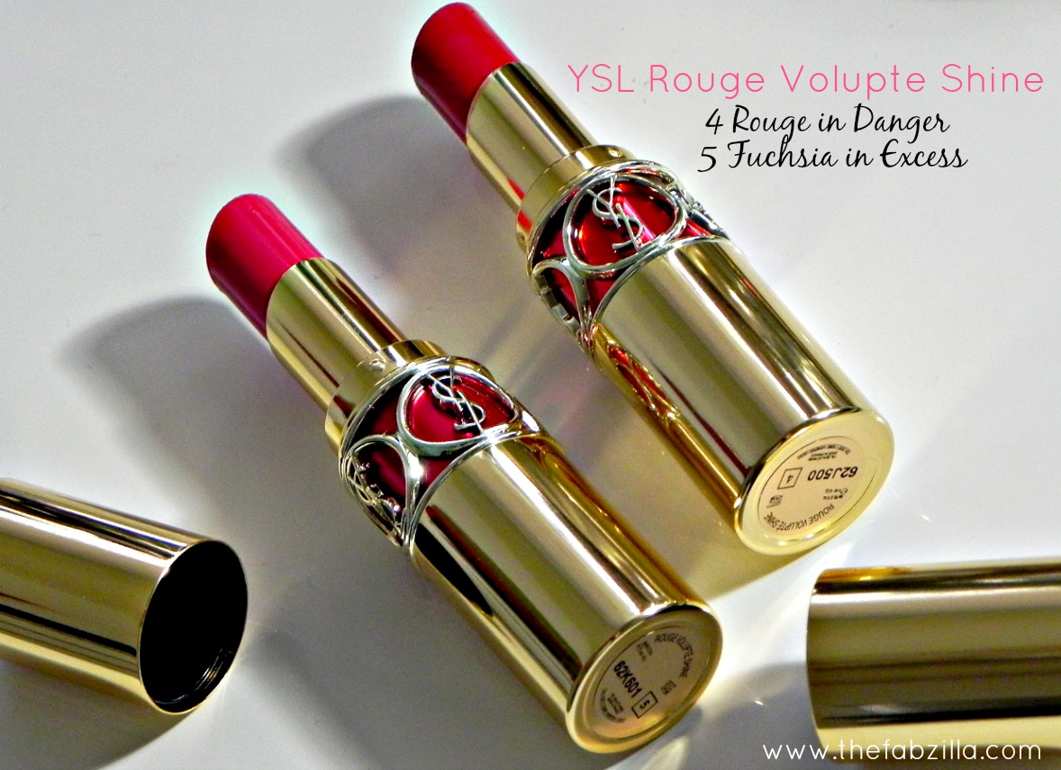 review YSL Rouge Volupte Shine, 4 Rouge in Danger, 5 Fuchsia in Excess, Yves Saint Laurent, swatches