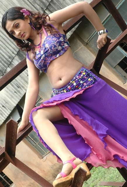 Actress Sheela Hot Hip Show in Blue Dress