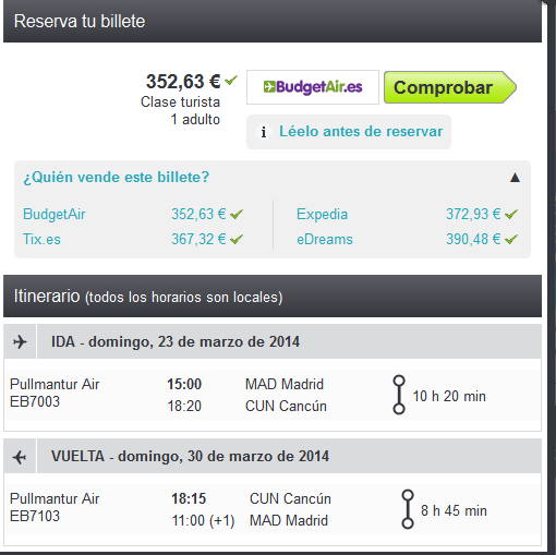 Cancun Air Pullmantur low cost