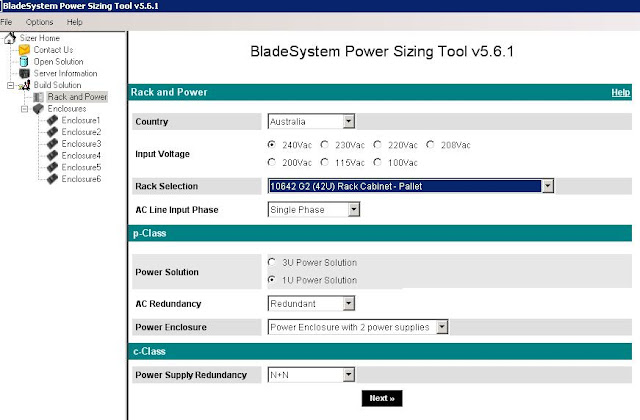 HP Blade power sizer