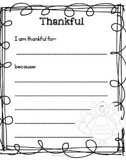What I am Thankful For Writing Freebie