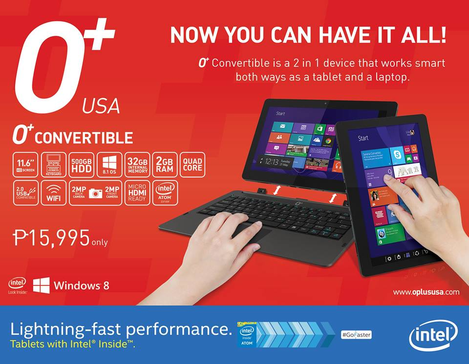 O+ Convertible, a 2-in-1 Laptop and Tablet Specs and Price