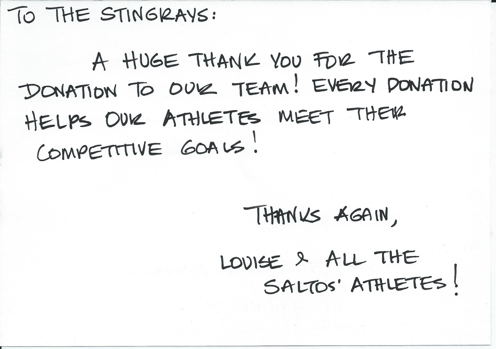 Work Thank You Note Perth Stingrays Aquatic Club Thanks From Saltos  Athletics 10