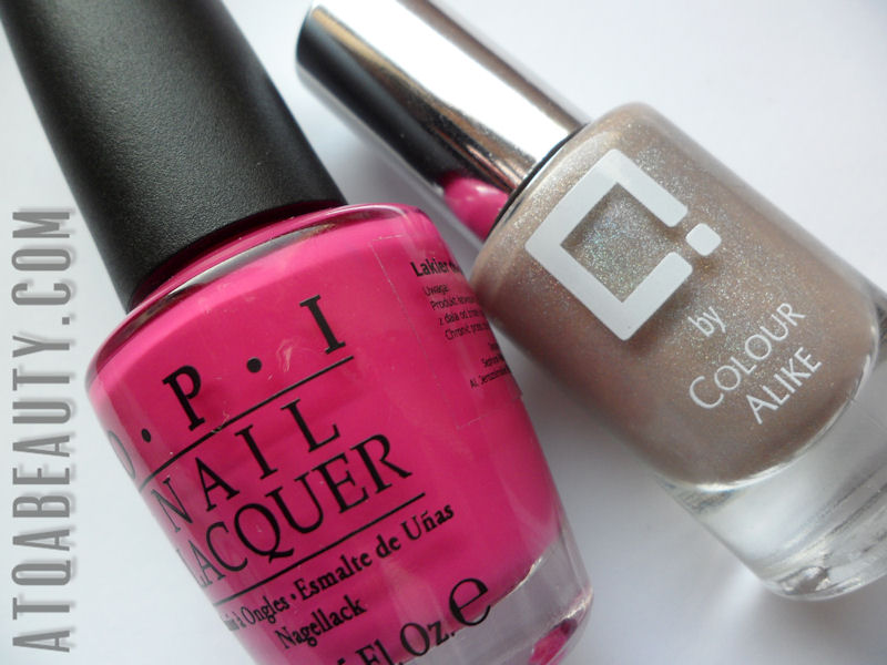 Half moon : Q by Colour Alike, 108 & OPI Pink Flamenco